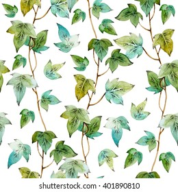 Watercolor seamless pattern with ivy