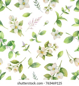 Watercolor seamless pattern with Jasmine flowers and mint leaves isolated on a white background. Illustration for design greeting cards, wedding invitations, natural cosmetics, packaging and tea.