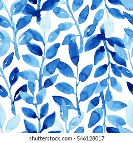 Watercolor seamless pattern with leaves. Blue pattern on the white background. Handmade texture. Template for textile, wallpaper, wrapping paper, etc.