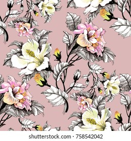 Watercolor seamless pattern with leaves and colorful flowers on pink background