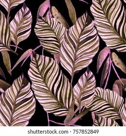 Watercolor seamless pattern with leaves. Vintage texture.