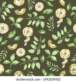 Watercolor seamless pattern with lemons and green branches. Yellow and green colors, watercolor technique. Dark background