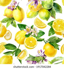 Watercolor seamless pattern lemons isolated on white background.