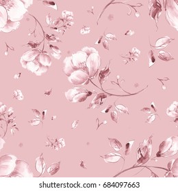 Watercolor seamless pattern of light flowers P. Toned. Pink background.