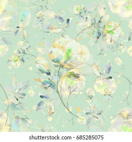 Watercolor seamless pattern of light flowers D
