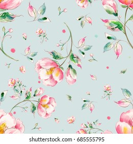 Watercolor seamless pattern of light flowers-6
