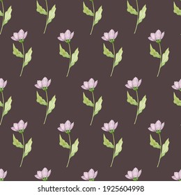 Watercolor seamless pattern with lilac flowers. Floral background. Spring flowers. Nature, plants. Mothers Day.