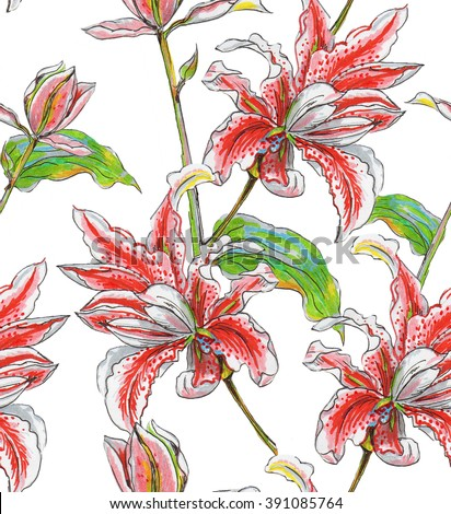 Watercolor Seamless Pattern Lily Flowers On Stock Illustration