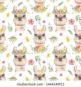 Watercolor seamless pattern with llama, possum, flamingo, toucan, coyote and tropical plants. Texture for wallpaper, fabric, textiles, packaging, baby shower, logo, prints, cover design, nursery.