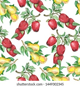 Watercolor seamless pattern of lush pear tree branches with juicy pears and green leaves and Apple branches with red apples. Autumn illustration of branches with pears and apples.
