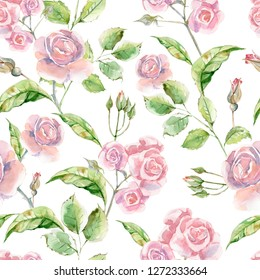 Watercolor seamless pattern with luxery flowers. Roses and herbs.  Hand drawn illustration