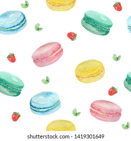 watercolor seamless pattern of macaroons, strawberries, and mint leaves on a white background. raster illustration for the design of textiles, posters, cards, magazines.