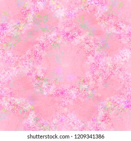 Watercolor seamless pattern made up of intersecting floral wreaths-garlands. Wild flowers of lilac, pink and white shades, green branches, white shades and prints on a gentle pink background.