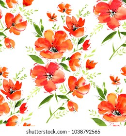 Watercolor seamless pattern. Magnificent gentle orange poppies flowers  and leaves on a white background.  Painted with love.
