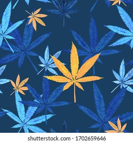Watercolor seamless pattern of marijuana leaves, cannabis on a blue background. For decoration, illustration, printing, fashion, textiles, background.