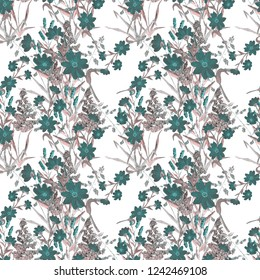 Watercolor seamless pattern with meadow herbs and flowers. Surface design. Hand drawn.