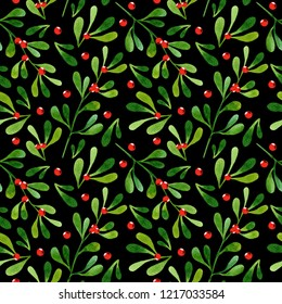 Watercolor seamless pattern with mistletoe on black background. Perfect for wrapping paper, textile, wallpaper. Christmas pattern.