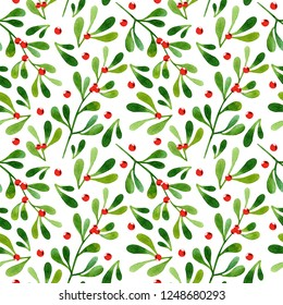 Watercolor seamless pattern with mistletoe on white background. Perfect for wrapping paper, textile, wallpaper. Christmas pattern.