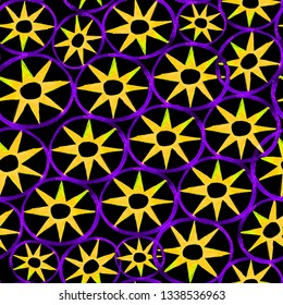 Watercolor seamless pattern. Modern stylish texture. Repeating  round and star tiles in yellow and violet colors on black background