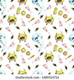 Watercolor seamless pattern with monsters, ghosts and bones with white background. Design for Halloween.