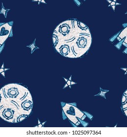 Watercolor seamless pattern with moon, rocket and star. Watercolor seamless background with space elements.