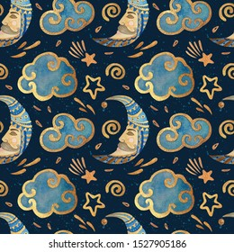 Watercolor seamless pattern with the moon, stars, and clouds. Gold watercolor on the dark background. Kids watercolor night illustration. Ideal for children's textiles, cards, posters, backdrops.