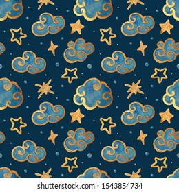 Watercolor seamless pattern with the moon, stars, and clouds. Gold watercolor on the dark background. Kids night illustration. Ideal for children's textiles, greeting cards, posters, backdrops.