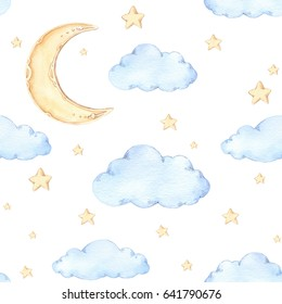 Watercolor seamless pattern - moon and stars. Ideas for a children's room. Good night. Baby shower party elements. Perfect for prints, postcards, greeting cards, fabric etc