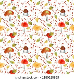Watercolor seamless pattern with mushrooms. Could be used for baby or kitchen textile, wrapping, home decor.