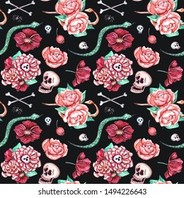 Watercolor seamless pattern on Halloween theme.Great design with skulls, bones, pumpkin ghosts, snakes, spiders, potion, candies, bats. Has elements of Day of the Dead - Día de los Muertos celebration