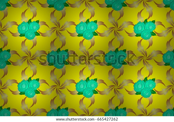 Watercolor seamless pattern on striped background. Raster floral print on a yellow background. Cute rose flowers and green leaves pattern,