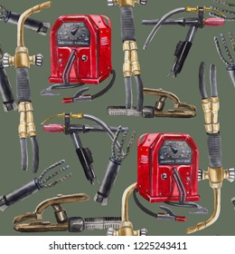 Watercolor seamless pattern on the topic of welding, contains a stylized vintage welding machine, a torch for gas welding, a torch for welding in a protective gas argon, vintage electrode holders.