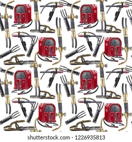 Watercolor seamless pattern on the topic of welding, contains a stylized vintage welding machine, a torch for gas welding, a torch for welding in a protective gas argon, vintage electrode holders