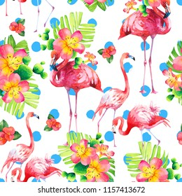 Watercolor seamless pattern on white background. Illustration with pink flamingo and tropical plants. Paradise bird.