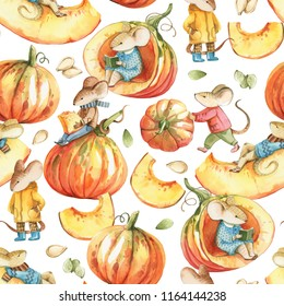 Watercolor seamless pattern on white background. Mice wearing on cloudthes, pupmkin, seeds for the Thanksgiving Day and autumn textures