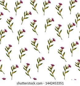 watercolor seamless pattern on a white background of purple flowers