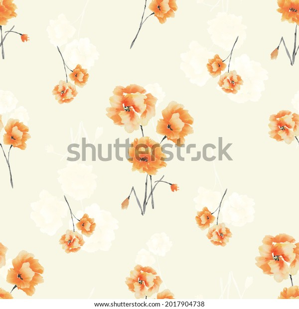 Watercolor seamless pattern of orange and white flowers and bouquets on a light yellow background