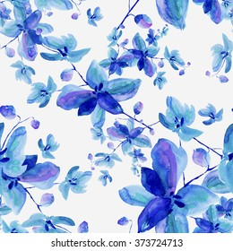 Watercolor seamless pattern orchid flowers-1