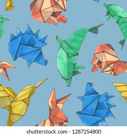 Watercolor seamless pattern of origami animal shape. Hand drawn doodle style of 4 origami figures dolphin, colibri, rabbit, and hedgehog, isolated on white background.