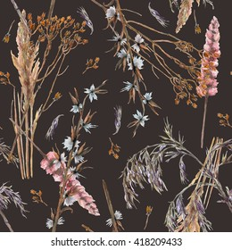 Watercolor seamless pattern with ornamental dry grass on dark background. Winter plants textile, fabric, wallpaper