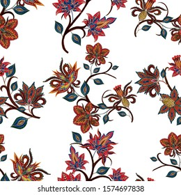 Watercolor seamless pattern with paisley flowers in ethnic style. Floral decoration. Traditional paisley pattern. Textile design texture.Tribal ethnic vintage seamless pattern.