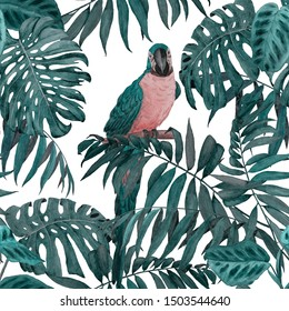 Watercolor seamless pattern with parrots and tropical leaves. Bright summer print. Exotic jungle wallpaper.