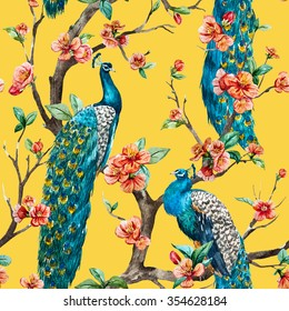 watercolor seamless pattern with peacock on a tree cherry, flowering trees, tree with flowers, yellow background