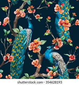 watercolor seamless pattern with peacock on a tree cherry, flowering trees, tree with flowers