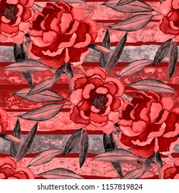 Watercolor seamless pattern with peonies. Fashion floral print.
