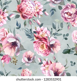 Watercolor seamless pattern of peony and blosom flowers on splash background. Floral element for wedding and invitation cards, for valentine cards and prints