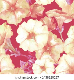 Watercolor seamless pattern of Petunia flowers.