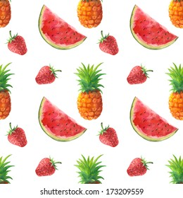 Watercolor seamless pattern with pineapples, watermelons and berries - illustration