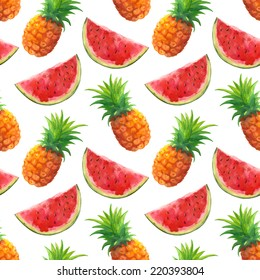 Watercolor seamless pattern with pineapples and watermelons on a white background
