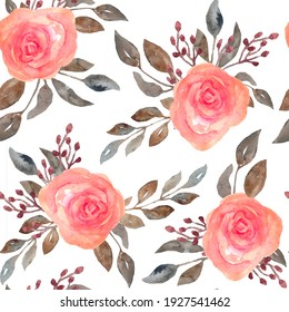 Watercolor seamless pattern of pink blush roses flowers and grey brown neutral faded leaves. Bouquets, petals blossom. Elegant garden blooms for textile wedding invitation cards wallpaper.